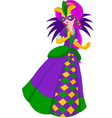 Colorful mardi gras queen holding the mask vector