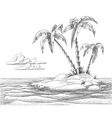 Tropical island sketch vector