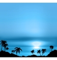 Sunset background with sea and palm trees vector