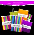 Colorful little notes on black background with spa vector