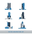 Set of six silhouettes of skyscrapers vector