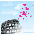 Colosseum and the heart love vector