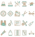 Flat line icons collection of sewing items vector