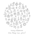 Doodle christmas elements vector