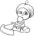 Baby girl with santa hat coloring page vector