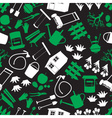 Garden green white and black seamless pattern vector