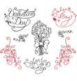 Set of elements for valentine day vector