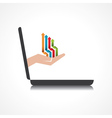 Hand holding colorful arrows comes from laptop vector