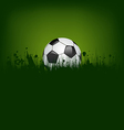 Football card with ball in grass vector