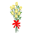 A lovely yellow roses bouquet with red ribbon vector