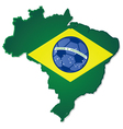 Brazil map and flag with soccer ball in the middle vector