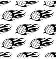 Volleyball ball with tribal flames seamless vector