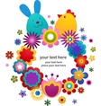 Easter greeting card with bunny and bird vector