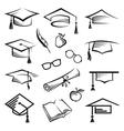 Graduation caps vector