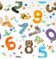 Numbers like european forest animals seamless patt vector
