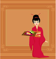Beautiful girl enjoy sushi - template design vector