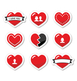 Love hearts labels set for valentines day vector
