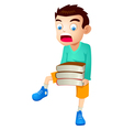 Kid with books vector