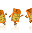 Sim card in the form of little people vector