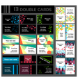 Set of 13 double business cards vector