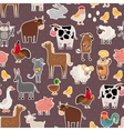 Farm animal and pets stickers pattern vector