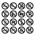 Set prohibited symbols shop black signs vector