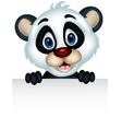 Cute baby panda holding blank sign vector