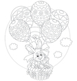 Easter bunny flies with balloons vector