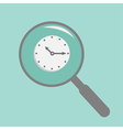 Magnifier and clock flat design style vector