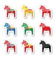 Swedish dala horse icons set vector