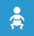 Baby icon white on the blue background vector
