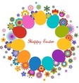 Easter greeting card with egg and flowered pattern vector