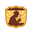 Detective inspector with magnifying glass vector