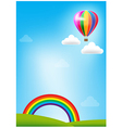 Balloon and rainbow on blue sky background vector