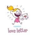 Love letter little girl in love vector