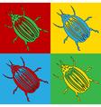 Pop art bug icons vector