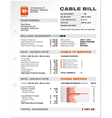 Cable service phone bill document sample template vector
