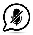 Bubble with microphone off icon vector