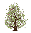 Eco summer tree with green leaves vector