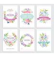 Romantic floral hand drawn card set vector