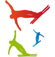 Ski freestyle silhouettes vector