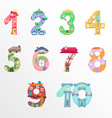 Numbers like fairy houses vector