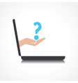 Hand holding question mark comes from laptop scree vector