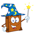 Happy spell book with a wizard hat and magic wand vector
