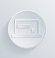 Paper circle flat icon laptop vector