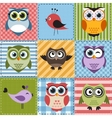 Patchwork with owls and birds vector