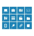 Office icons on blue background vector