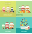 Jam and juice cards in flat style vector