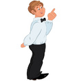 Happy cartoon man standing in white shirt and vector