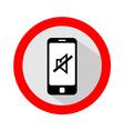Mobile phone ringer volume mute sign vector